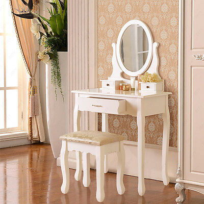 White Dressing Table Makeup Desk with Stool 3 Drawers and Oval Mirror Bedroom