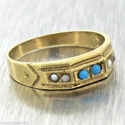 1880s Antique Victorian 8ct 333 Yellow Gold Seed Pearl Turquoise Band Ring Sz7.5