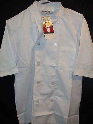 Chef Works White Unisex Chef Jacket  Short Sleeve Apron Size Small S NEW  NWT
