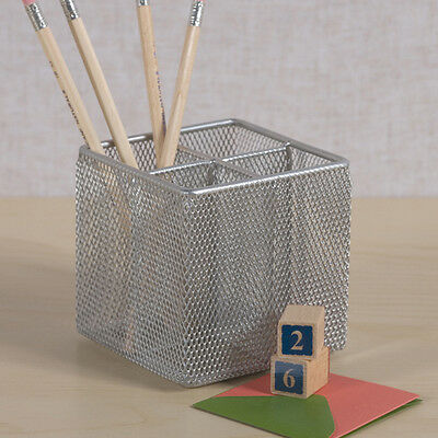 Silver Mesh Pen Pencil Cube Holder Rack Desk Office Organizer by Design Ideas