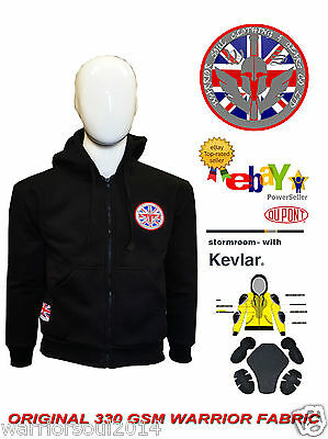 Motorcycle Motorbike Fully Lined KEVLAR Removable CE Armour 330GSM FLEECE HOODIE