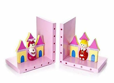Pink Prince Princess Children's Wooden Bookends Girls Nursery Bedroom