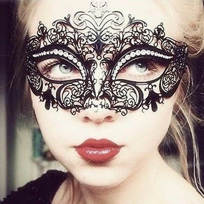 Black Venetian Style Metal Mask Filigree Masquerade Party Prom Ball Fancy Dress
