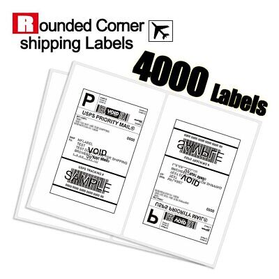 Rounded Corner 4000 Half Sheet Shipping Labels 8.5x5.5 Self Adhesive - USPS UPS