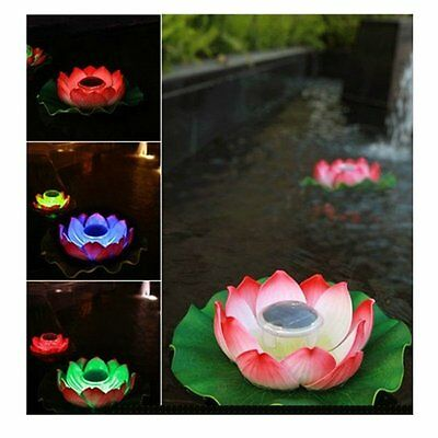 Solar LED 7 Color RGB Lotus Flower Light Floating Fountain Pond Garden Pool Lamp