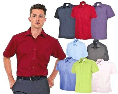 Mens Premium Plain Short Sleeve Shirt Formal Casual  Size Small to 3XL Easy Care