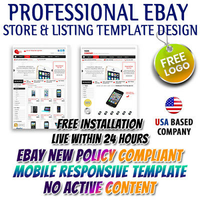 eBay Store Template, Mobile Responsive Listing Auction Templates 2019 Policy