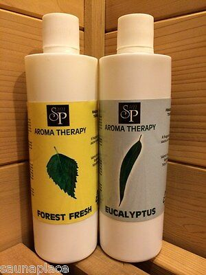 Sauna Aroma Fragrance - Duo Pack, 250 ml each of Eucalyptus and of Forest Fresh