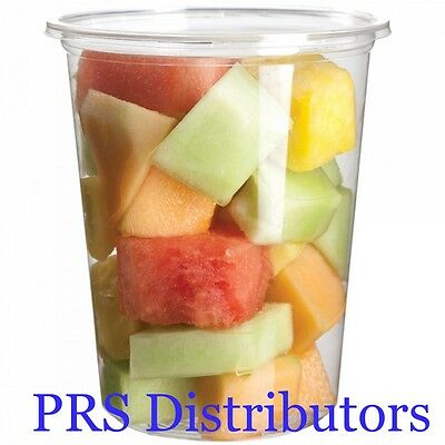 32 Oz PLASTIC ROUND FOOD CONTAINERS+LIDS/DELI SOUP STORAGE CONTAINERS/ 24 Sets