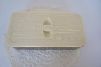 Vintage Plastic Sewing Machine Attachment Box With Metal Parts
