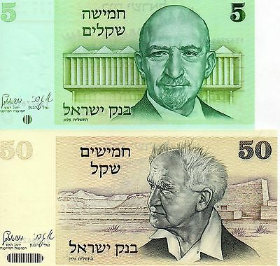 ISRAEL Middle East set of 2 pcs UNC banknotes 5,50 Lirot 1978 p-44,46