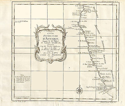 1739 NICOLAS BELLIN Map of the SOUTHWEST COAST of AFRICA - Cape of Good Hope