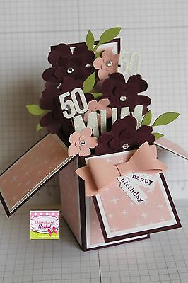 Handmade card, card in a box, Birthday card,Pink & Purple Floral,stampin up