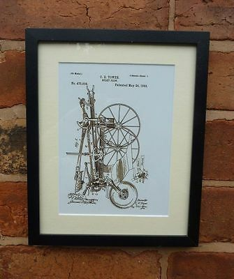 USA Patent Drawing vintage SULKY PLOUGH tractor research MOUNTED PRINT 1892
