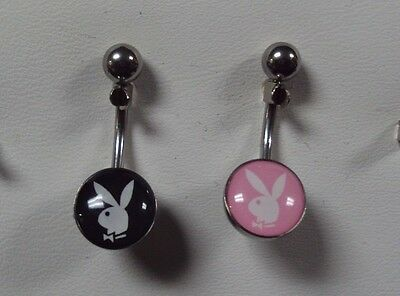 14 G 316L Surgical Steel Navel Belly Button Ring Bar Jewelry Playboy Bunny 2 Lot
