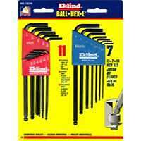 "18 Piece Combination SAE and Metric Long Ball End Hex-Lâ""¢ Hex Key Set"