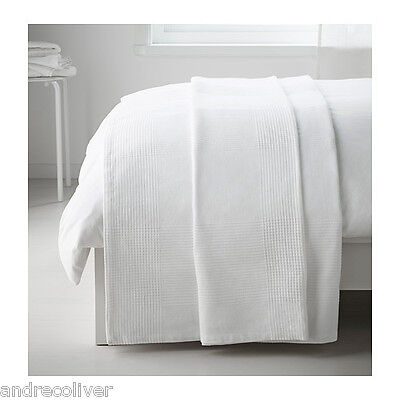 "Ikea Throw Rug Bedspread Blanket Bed Couch Cotton 150x250cm / 59x98"" White"