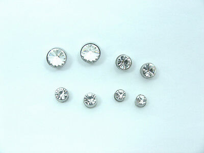 Stainless Steel MAGNETIC Round WHITE CZ Stone Ear Stud EARRINGS ~Non Piercing~