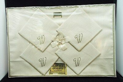 "Vintage Linen 8 piece Mat Set in Original Sealed Box Monogram ""W"""