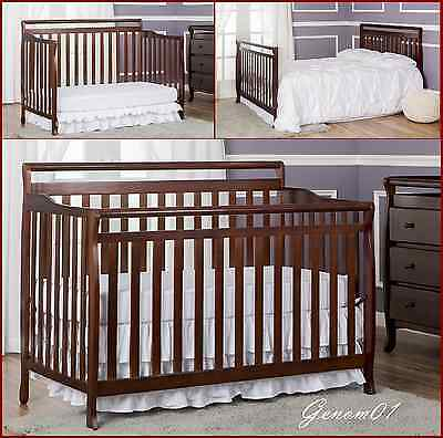 5 in 1 Child  Baby Crib ADJUSTABLE to Toddler Bed Dream On Me Liberty Espresso