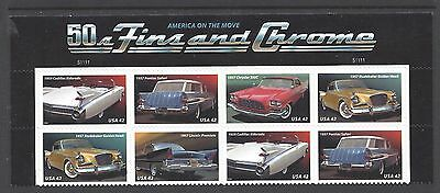4353 57 50s Classic Cars Fins & Chrome Plate blk of 8 Mint 42 ct stamps Pontiac