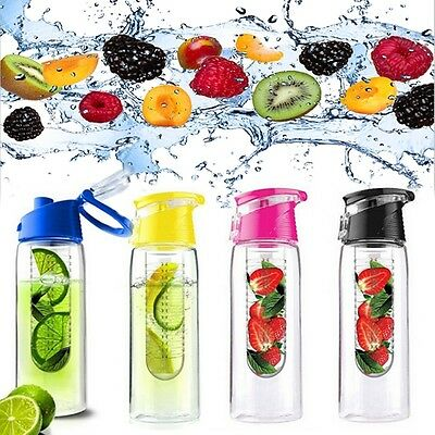 800ML Sports Fruit Infusing Infuser Water Bottle Lemon Juice Health Bottle Flip