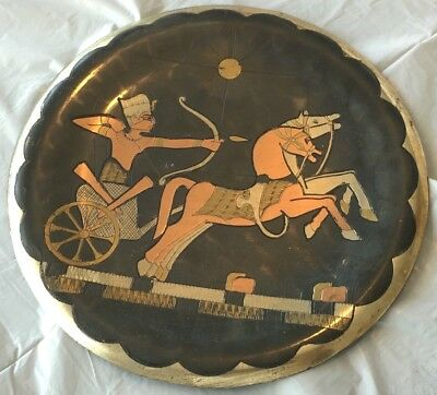 BEAUTIFUL VINTAGE Egyptian Hand Made Copper & Brass Wall Plaque Dish Plate Egypt • CAD $36.48