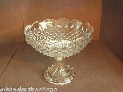 Large Antique EAPG Flint Glass Footed Compote with Diamond Mitre Pattern