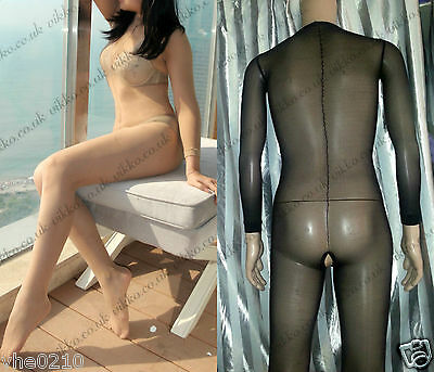 Men / Unisex 20 Denier Full Sheer Long Sleeves Bodystockings