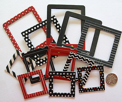 Scrapbooking No 336 - 12 Die Cut Chip Board Frames - Mixed Prints And Sizes