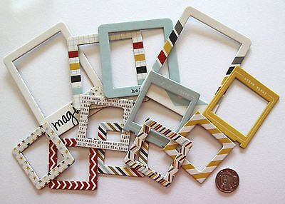 Scrapbooking No 333 - 12 Die Cut Chip Board Frames - Mixed Colour And Sizes