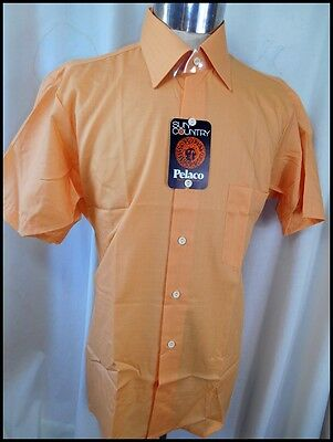 Vintage 70s Apricot Pelaco Poly/Cotton Short Sleeve Shirt  L 'AS NEW' NEVER WORN