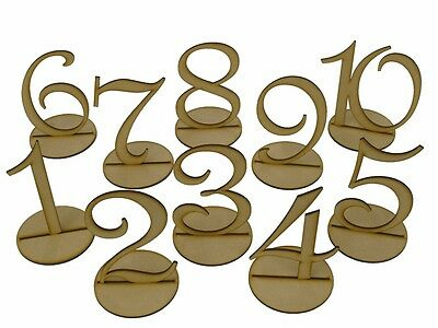 MDF Wooden Shape 10cm Table Numbers Set with Base 3mm Thick Wedding Birthday