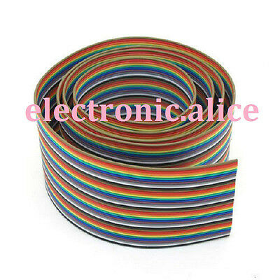 3.3ft 40 Way 40 pin Flat Color Rainbow Ribbon IDC Cable Wire Rainbow Cable 1M