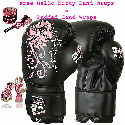Ladies Pink Gel Boxing Gloves Bag Womens Gym Kick Pads MMA Mitts Muay Thai G