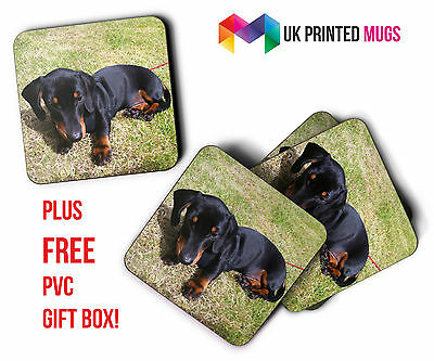 Set of 4 Personalised Square Photo Coasters + Free PVC Gift Box