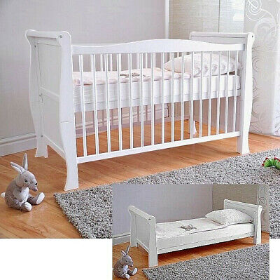 White Solid Wood Baby Cot Bed & Deluxe Foam Mattress Convert to Junior Bed