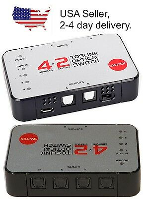 4 input x 2 output Digital Optical S/PDIF TOSlink Audio Selector Switch Switcher