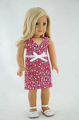 4th Summer Dress White Flowers American Made Doll Clothes For 18 Inch Girl Dolls