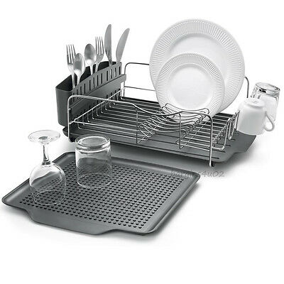 4 Piece Dish Rack Drainer Drying Tray Cutlery Utensil Caddy Stainless Steel New