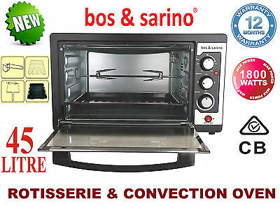 BOS & SARINO 1800W Convection Rotisserie Cake BBQ Spit Roaster Chargril Oven 45L