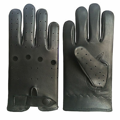 Real Leather Men's Unlined Fashion Nappa Driving Black Gloves D-508
