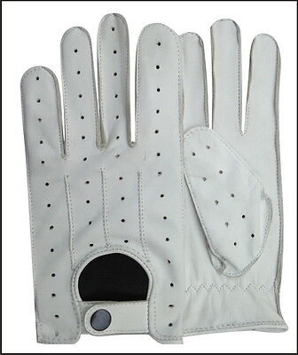Real Leather Men's Nappa Fashion Unlined Driving Gloves White