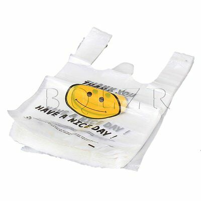 100pcs Carry Out Retail Supermarket Grocery White Plastic Shopping Bag 30 x 45cm