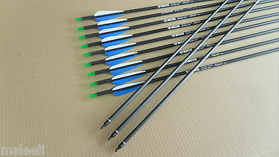 12 Pcs Screw tips Archery Carbon Arrows for recurve and compund bow Hunting