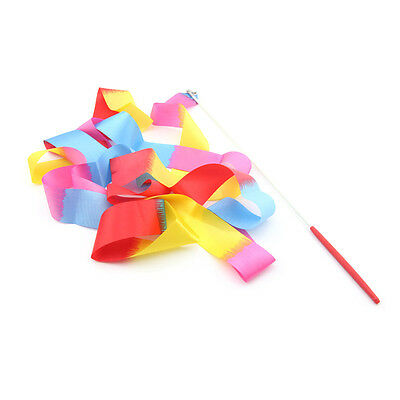 Pack of 2PCS 4M Rainbow Gym Dance Streamer Twirling Dazzler Ribbon with Stick