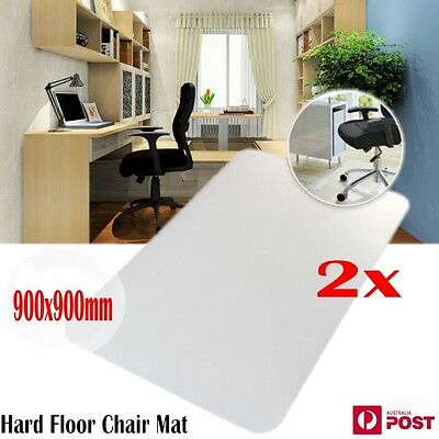 2x Floor Mat Office Computer Work Chair Mat Protection Pad Plastic 900x900mm AU