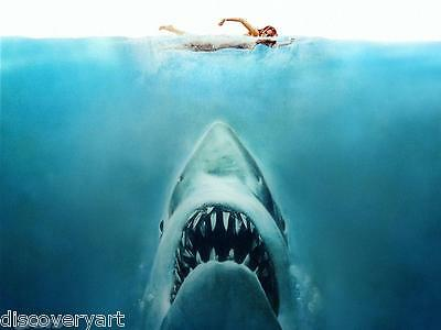 Jaws 1975 Film Canvas Wall Art Movie Poster Print Roy Scheider Murray Hamilton