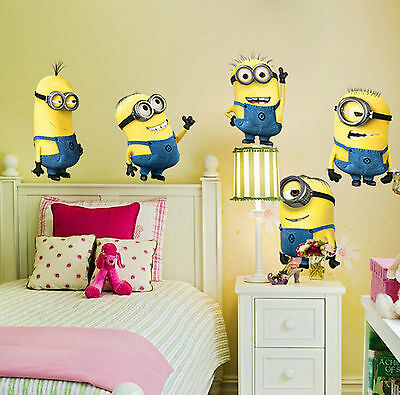 5 LARGE MINIONS DESPICABLE ME WALL STICKERS Removable Decals+GIFT MINION BALLOON