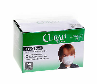 Medline Curad Child Size Face Mask with Earloops, White, 50 Count - CUR380Z